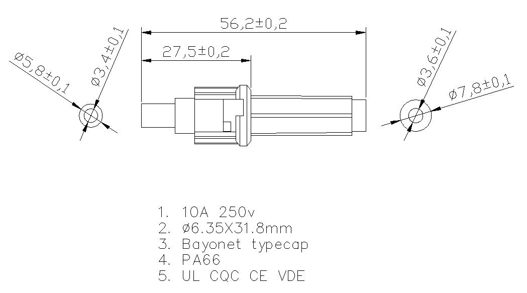 10A inline fuse holder H3-06 Datasheet