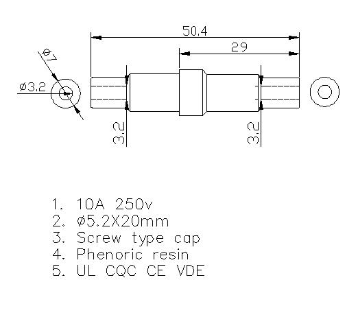 250v 인라인 퓨즈 홀더 H3-03 데이터 시트