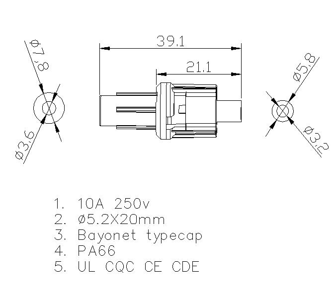Inline fuse holder 10 amp H3-05 Datasheet