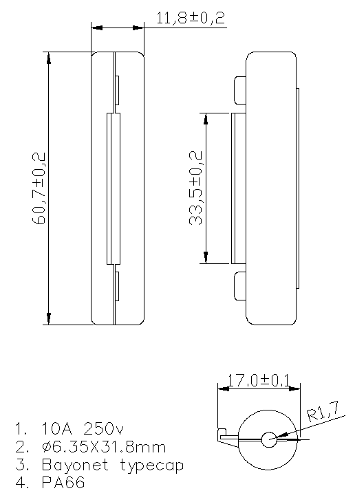 line fuse holder H3-70A Datasheet